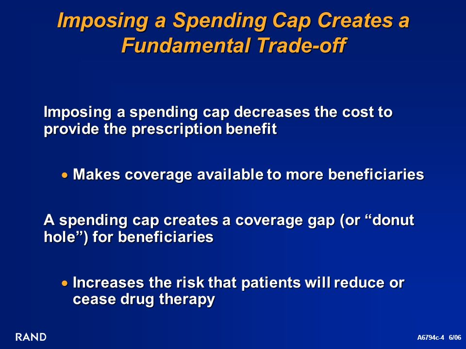 A6794c-4 6/06 Imposing a Spending Cap Creates a Fundamental Trade-off Imposing a spending cap decreases the cost to provide the prescription benefit Makes coverage available to more beneficiaries Makes coverage available to more beneficiaries A spending cap creates a coverage gap (or donut hole) for beneficiaries Increases the risk that patients will reduce or cease drug therapy Increases the risk that patients will reduce or cease drug therapy