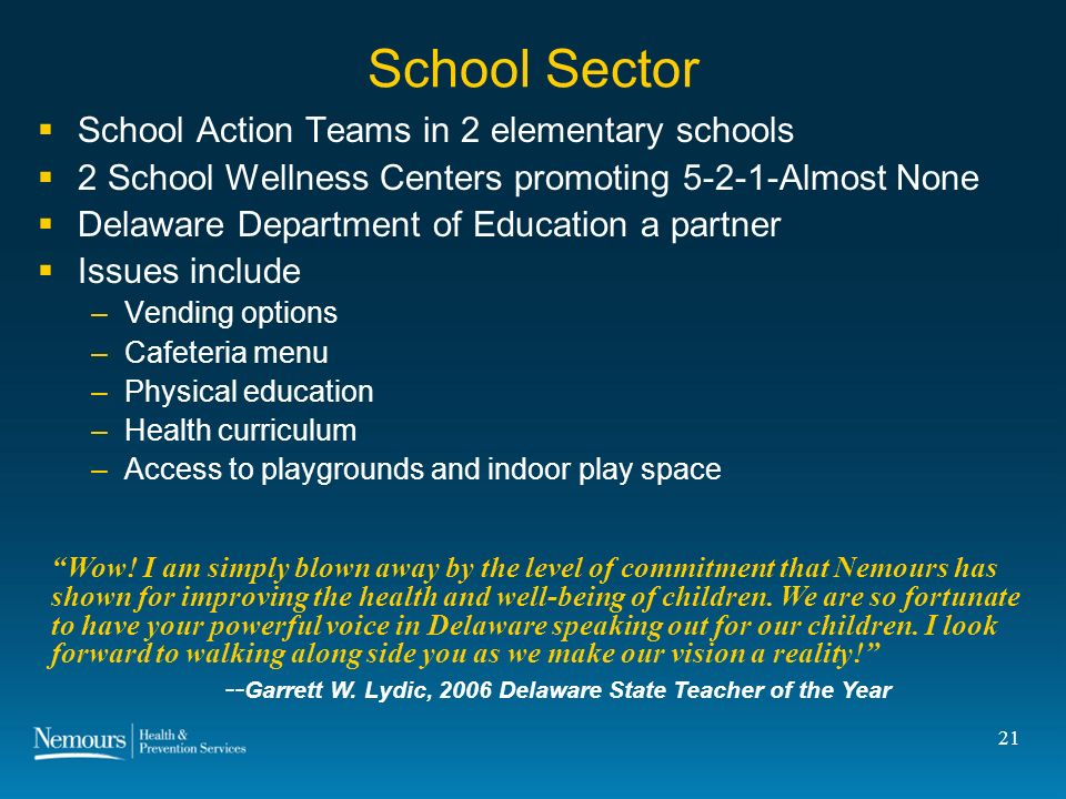 21 School Sector School Action Teams in 2 elementary schools 2 School Wellness Centers promoting 5-2-1-Almost None Delaware Department of Education a partner Issues include –Vending options –Cafeteria menu –Physical education –Health curriculum –Access to playgrounds and indoor play space Wow.
