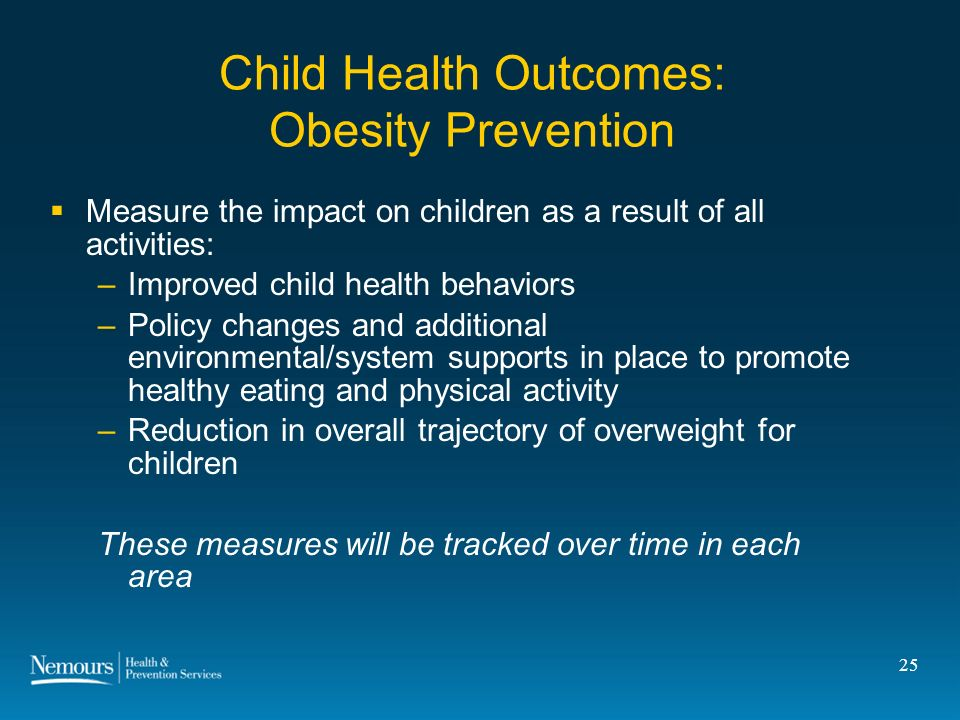 25 Child Health Outcomes: Obesity Prevention Measure the impact on children as a result of all activities: –Improved child health behaviors –Policy changes and additional environmental/system supports in place to promote healthy eating and physical activity –Reduction in overall trajectory of overweight for children These measures will be tracked over time in each area