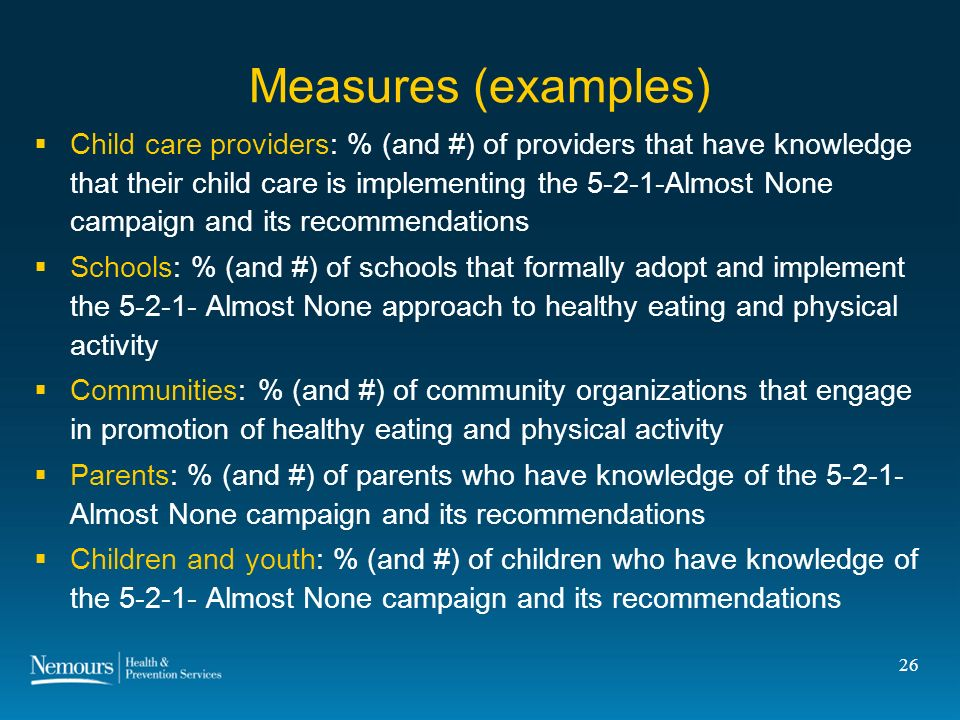 26 Measures (examples) Child care providers: % (and #) of providers that have knowledge that their child care is implementing the 5-2-1-Almost None campaign and its recommendations Schools: % (and #) of schools that formally adopt and implement the 5-2-1- Almost None approach to healthy eating and physical activity Communities: % (and #) of community organizations that engage in promotion of healthy eating and physical activity Parents: % (and #) of parents who have knowledge of the 5-2-1- Almost None campaign and its recommendations Children and youth: % (and #) of children who have knowledge of the 5-2-1- Almost None campaign and its recommendations