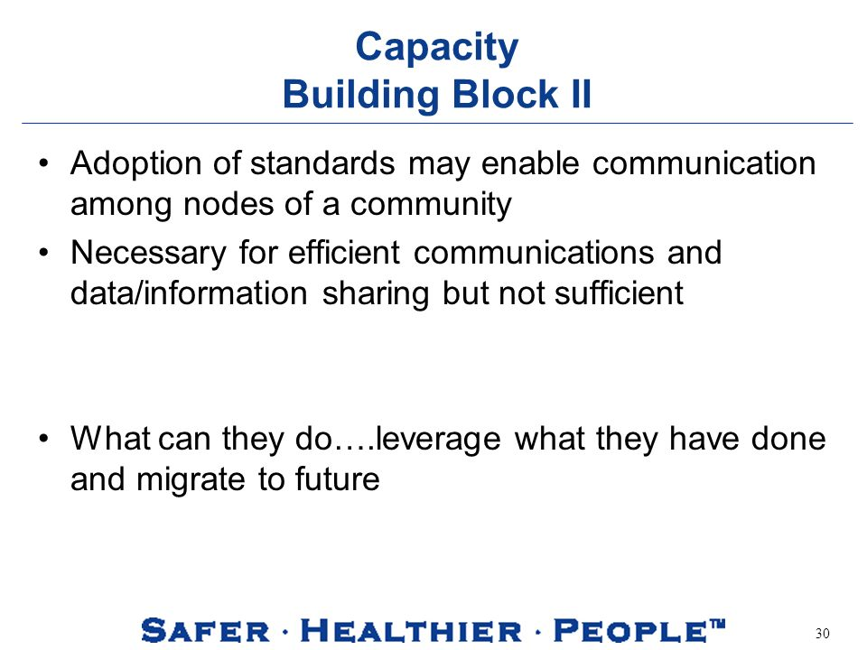 30 Capacity Building Block II Adoption of standards may enable communication among nodes of a community Necessary for efficient communications and data/information sharing but not sufficient What can they do….leverage what they have done and migrate to future