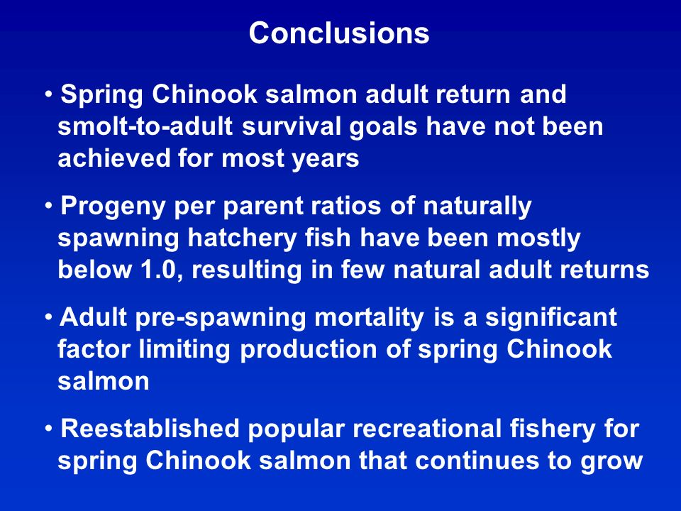 Conclusions Spring Chinook salmon adult return and smolt-to-adult survival goals have not been achieved for most years Progeny per parent ratios of naturally spawning hatchery fish have been mostly below 1.0, resulting in few natural adult returns Adult pre-spawning mortality is a significant factor limiting production of spring Chinook salmon Reestablished popular recreational fishery for spring Chinook salmon that continues to grow