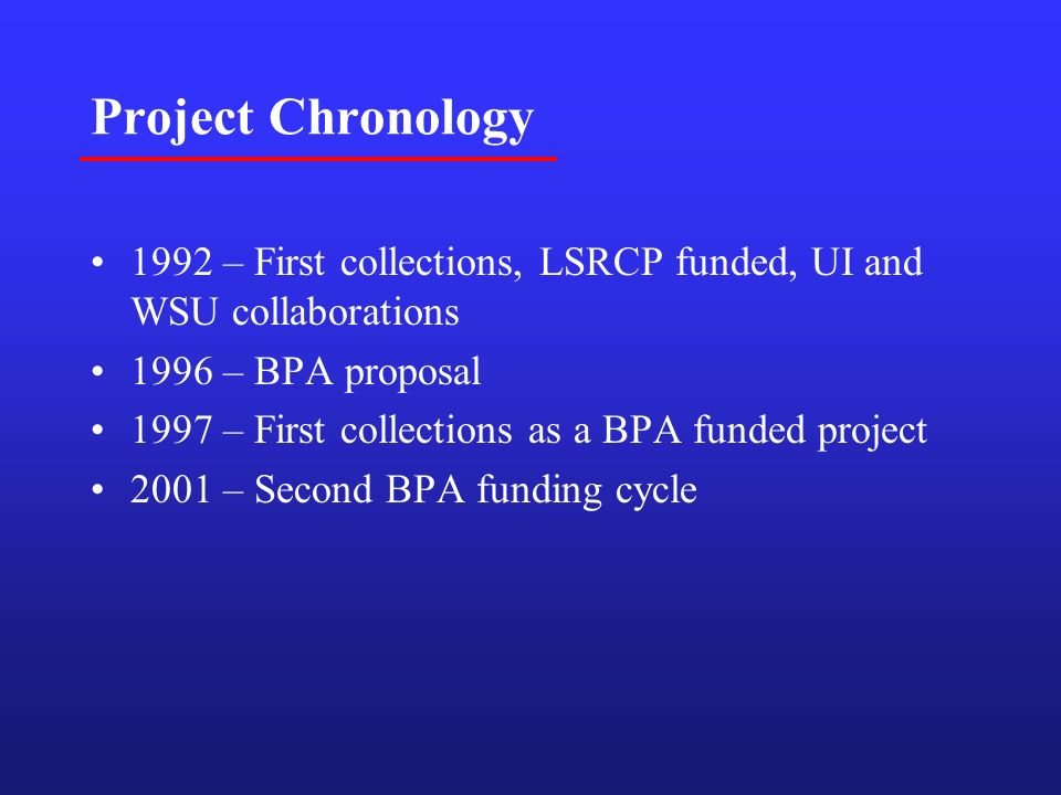 Project Chronology 1992 – First collections, LSRCP funded, UI and WSU collaborations 1996 – BPA proposal 1997 – First collections as a BPA funded project 2001 – Second BPA funding cycle