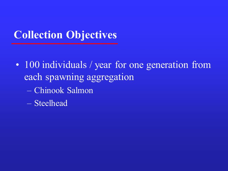 Collection Objectives 100 individuals / year for one generation from each spawning aggregation –Chinook Salmon –Steelhead