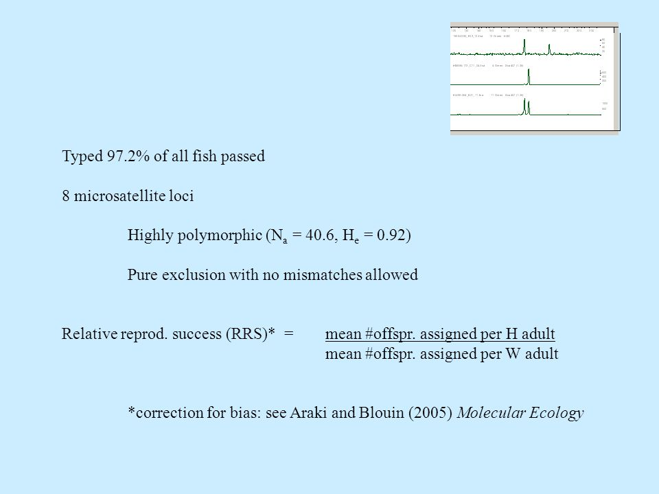 Typed 97.2% of all fish passed 8 microsatellite loci Highly polymorphic (N a = 40.6, H e = 0.92) Pure exclusion with no mismatches allowed Relative reprod.