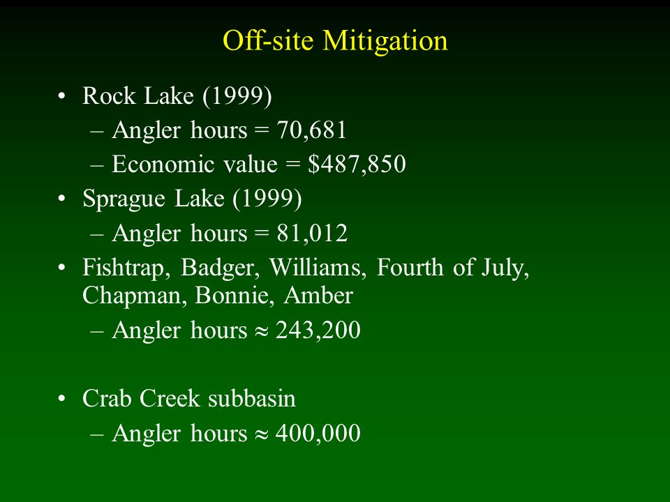Off-site Mitigation Rock Lake (1999) –Angler hours = 70,681 –Economic value = $487,850 Sprague Lake (1999) –Angler hours = 81,012 Fishtrap, Badger, Williams, Fourth of July, Chapman, Bonnie, Amber –Angler hours 243,200 Crab Creek subbasin –Angler hours 400,000