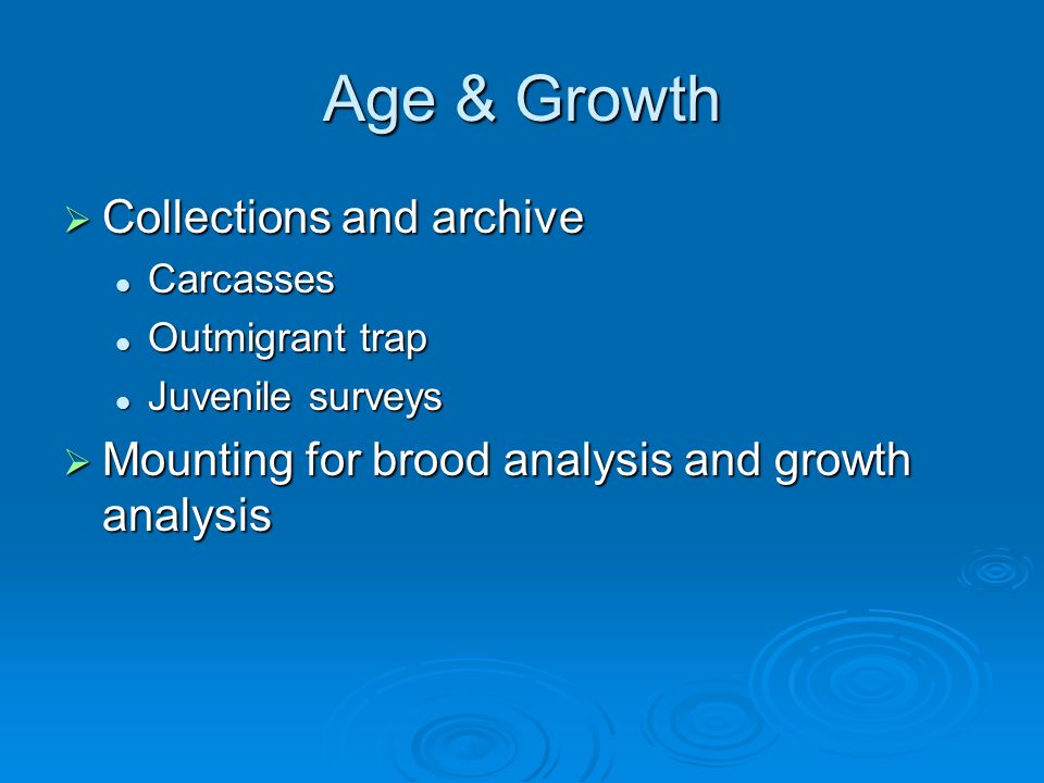 Age & Growth Collections and archive Collections and archive Carcasses Carcasses Outmigrant trap Outmigrant trap Juvenile surveys Juvenile surveys Mounting for brood analysis and growth analysis Mounting for brood analysis and growth analysis