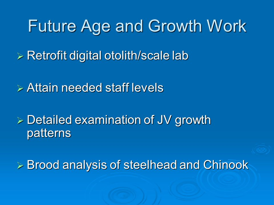 Future Age and Growth Work Retrofit digital otolith/scale lab Retrofit digital otolith/scale lab Attain needed staff levels Attain needed staff levels Detailed examination of JV growth patterns Detailed examination of JV growth patterns Brood analysis of steelhead and Chinook Brood analysis of steelhead and Chinook