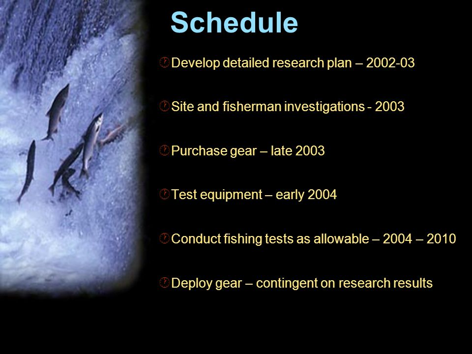 Schedule Develop detailed research plan – Site and fisherman investigations Purchase gear – late 2003 Test equipment – early 2004 Conduct fishing tests as allowable – 2004 – 2010 Deploy gear – contingent on research results
