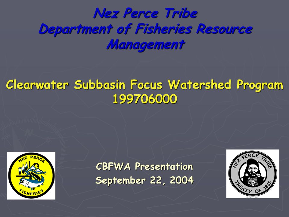 Nez Perce Tribe Department of Fisheries Resource Management CBFWA Presentation September 22, 2004 Clearwater Subbasin Focus Watershed Program
