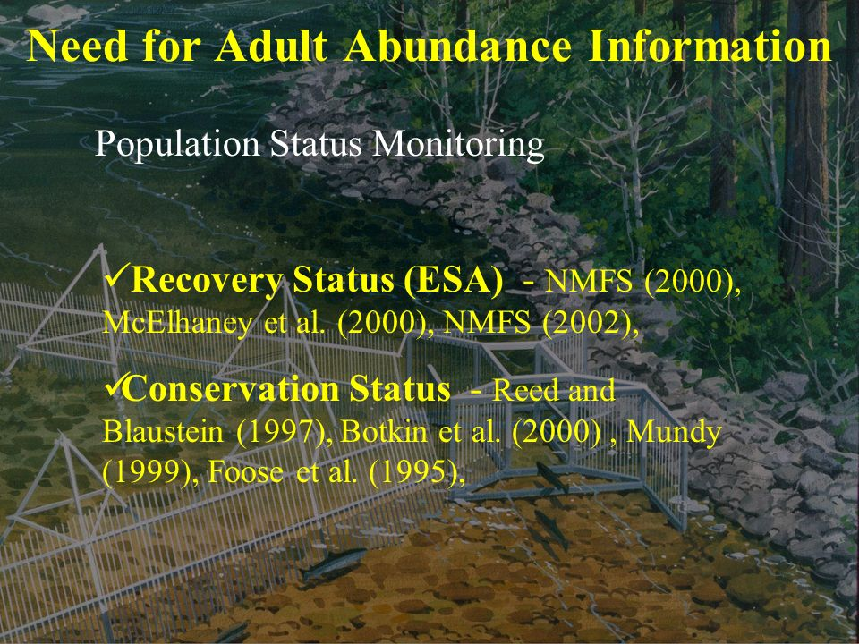 Need for Adult Abundance Information Population Status Monitoring Recovery Status (ESA) - NMFS (2000), McElhaney et al.
