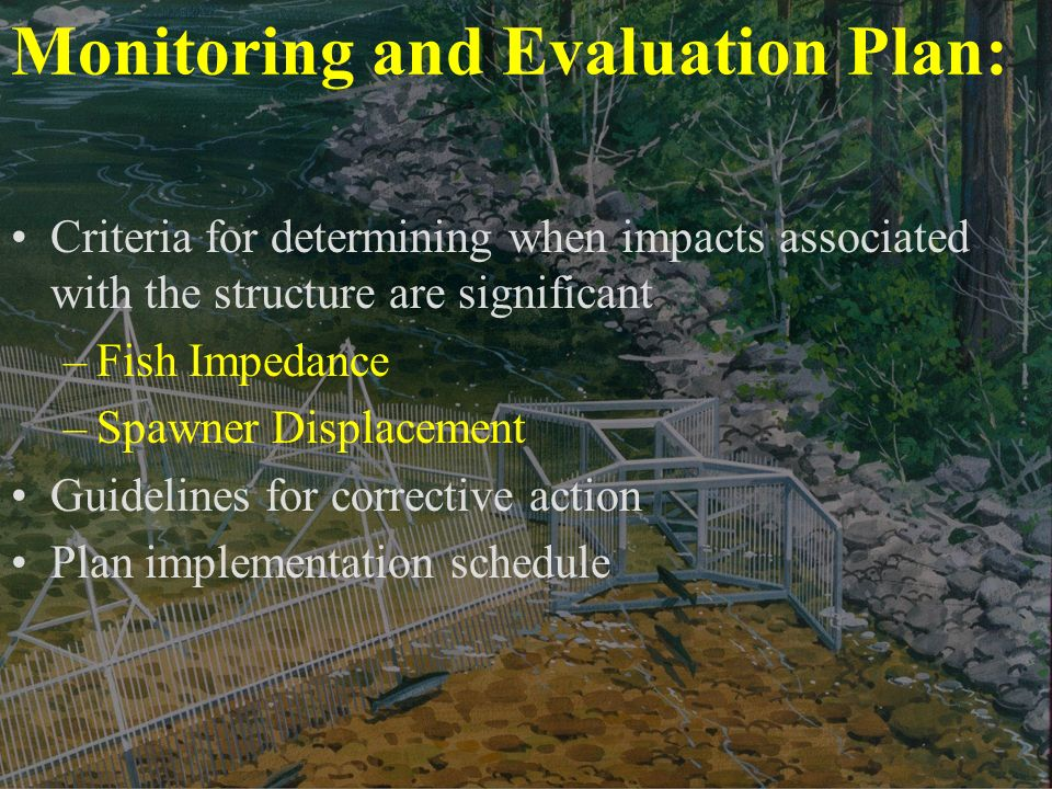 Monitoring and Evaluation Plan: Criteria for determining when impacts associated with the structure are significant –Fish Impedance –Spawner Displacement Guidelines for corrective action Plan implementation schedule