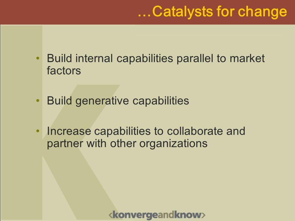 …Catalysts for change Build internal capabilities parallel to market factors Build generative capabilities Increase capabilities to collaborate and partner with other organizations