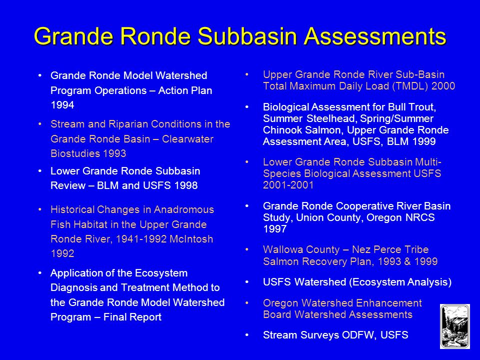 Grande Ronde Subbasin Assessments Grande Ronde Model Watershed Program Operations – Action Plan 1994 Stream and Riparian Conditions in the Grande Ronde Basin – Clearwater Biostudies 1993 Lower Grande Ronde Subbasin Review – BLM and USFS 1998 Historical Changes in Anadromous Fish Habitat in the Upper Grande Ronde River, McIntosh 1992 Application of the Ecosystem Diagnosis and Treatment Method to the Grande Ronde Model Watershed Program – Final Report Upper Grande Ronde River Sub-Basin Total Maximum Daily Load (TMDL) 2000 Biological Assessment for Bull Trout, Summer Steelhead, Spring/Summer Chinook Salmon, Upper Grande Ronde Assessment Area, USFS, BLM 1999 Lower Grande Ronde Subbasin Multi- Species Biological Assessment USFS Grande Ronde Cooperative River Basin Study, Union County, Oregon NRCS 1997 Wallowa County – Nez Perce Tribe Salmon Recovery Plan, 1993 & 1999 USFS Watershed (Ecosystem Analysis) Oregon Watershed Enhancement Board Watershed Assessments Stream Surveys ODFW, USFS