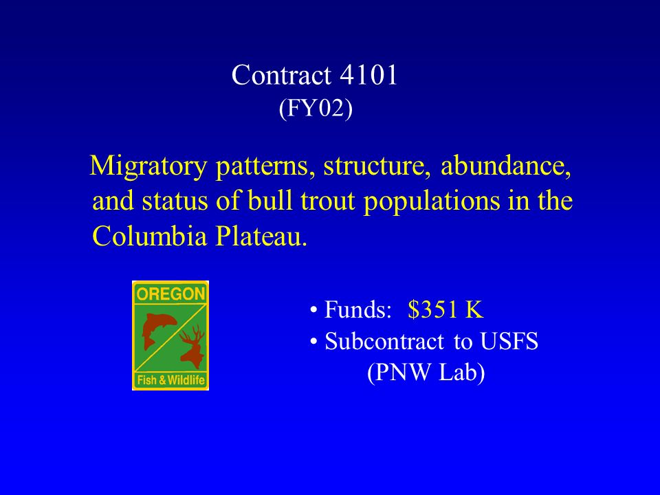 Contract 4101 (FY02) Migratory patterns, structure, abundance, and status of bull trout populations in the Columbia Plateau.