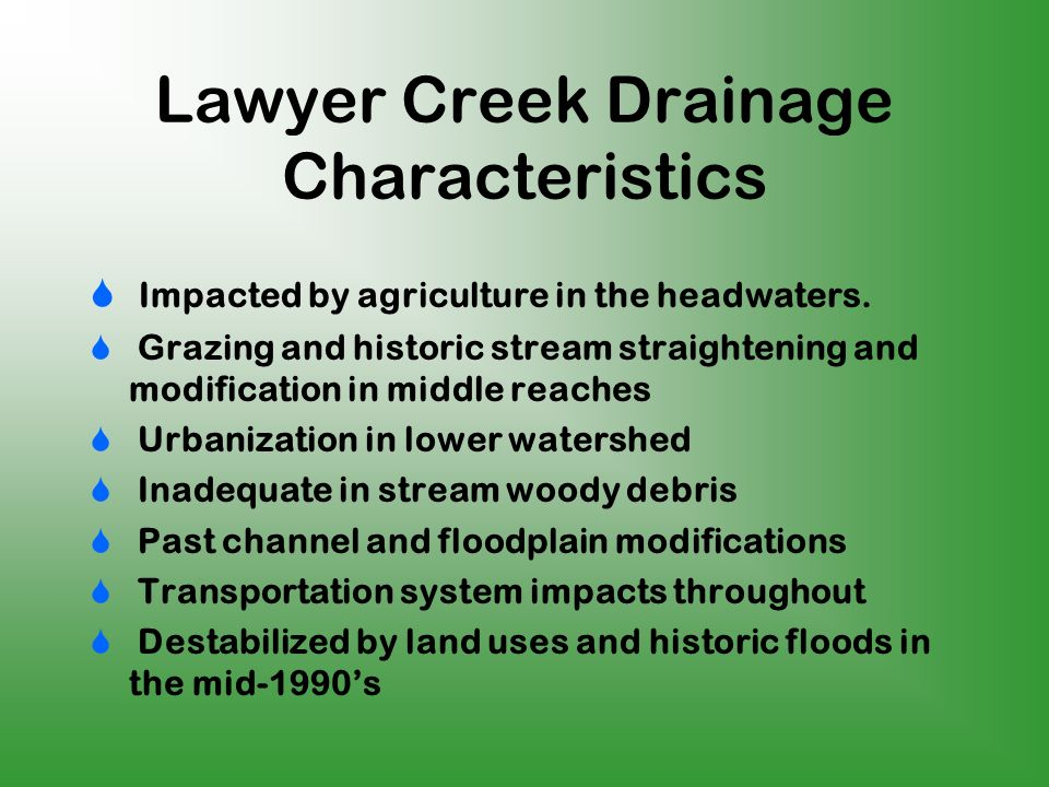 Lawyer Creek Drainage Characteristics Impacted by agriculture in the headwaters.