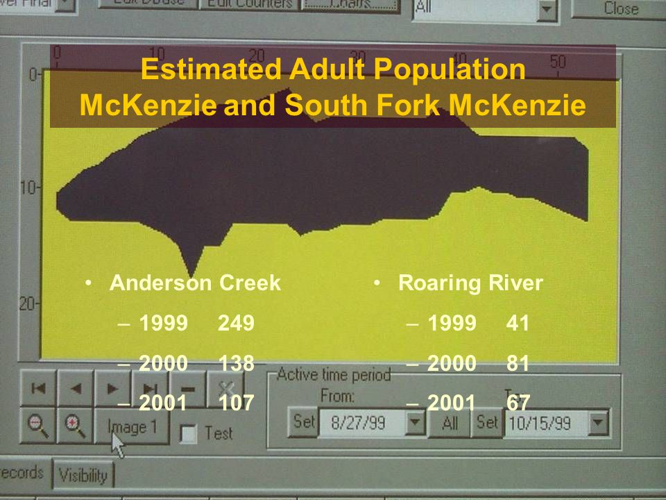 Estimated Adult Population McKenzie and South Fork McKenzie Anderson Creek – – – Roaring River – – –200167