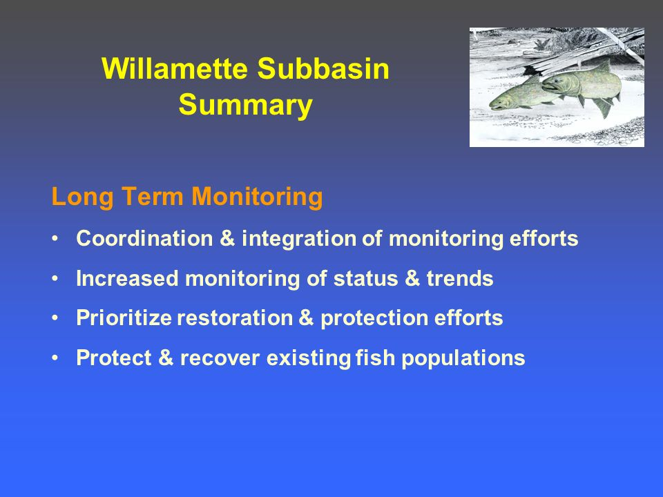 Willamette Subbasin Summary Long Term Monitoring Coordination & integration of monitoring efforts Increased monitoring of status & trends Prioritize restoration & protection efforts Protect & recover existing fish populations