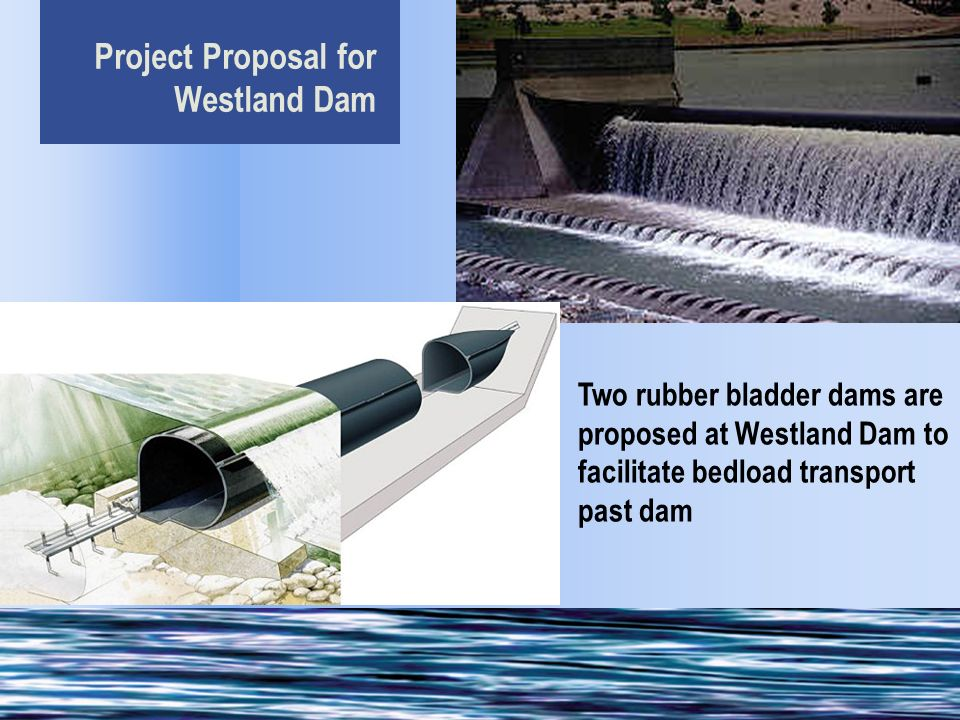 Project Proposal for Westland Dam Two rubber bladder dams are proposed at Westland Dam to facilitate bedload transport past dam