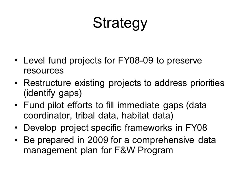 Strategy Level fund projects for FY08-09 to preserve resources Restructure existing projects to address priorities (identify gaps) Fund pilot efforts to fill immediate gaps (data coordinator, tribal data, habitat data) Develop project specific frameworks in FY08 Be prepared in 2009 for a comprehensive data management plan for F&W Program