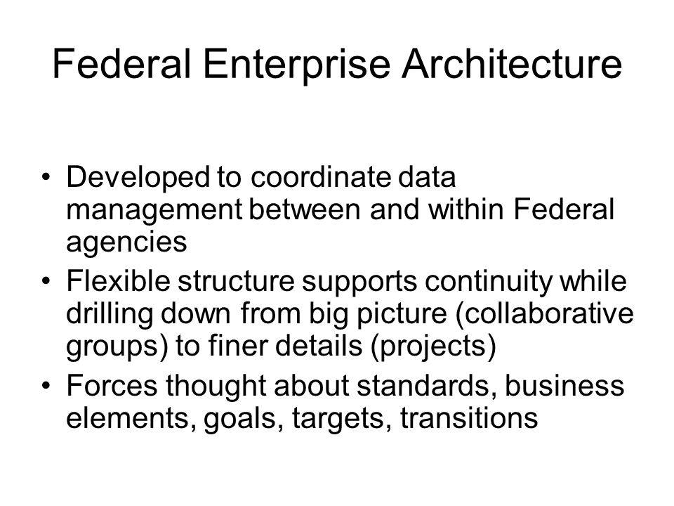 Federal Enterprise Architecture Developed to coordinate data management between and within Federal agencies Flexible structure supports continuity while drilling down from big picture (collaborative groups) to finer details (projects) Forces thought about standards, business elements, goals, targets, transitions
