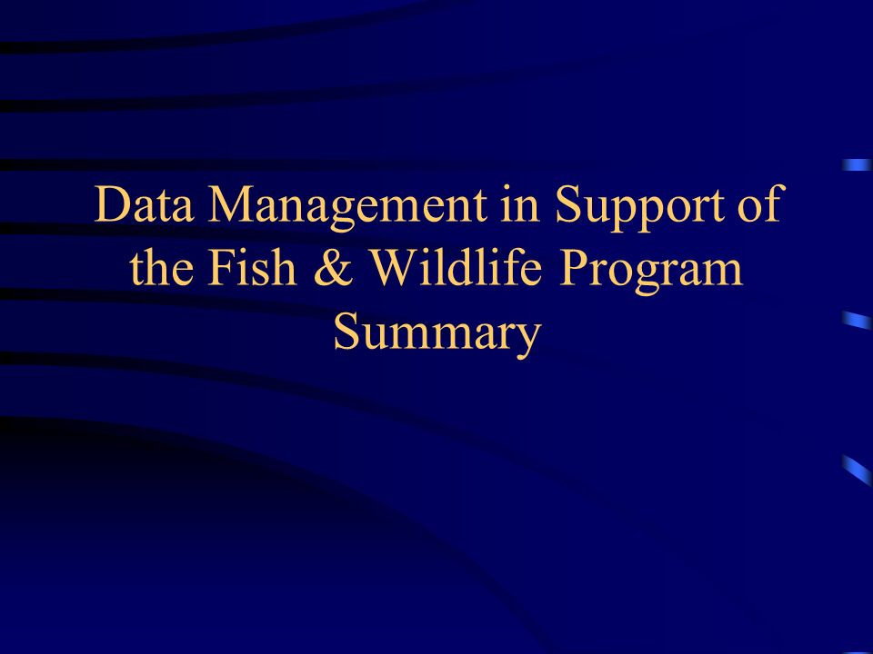 Data Management in Support of the Fish & Wildlife Program Summary