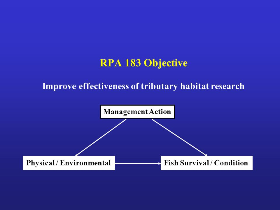 RPA 183 Objective Improve effectiveness of tributary habitat research Management Action Fish Survival / ConditionPhysical / Environmental