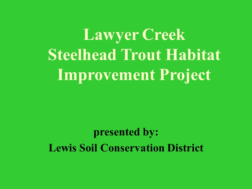 Lawyer Creek Steelhead Trout Habitat Improvement Project presented by: Lewis Soil Conservation District