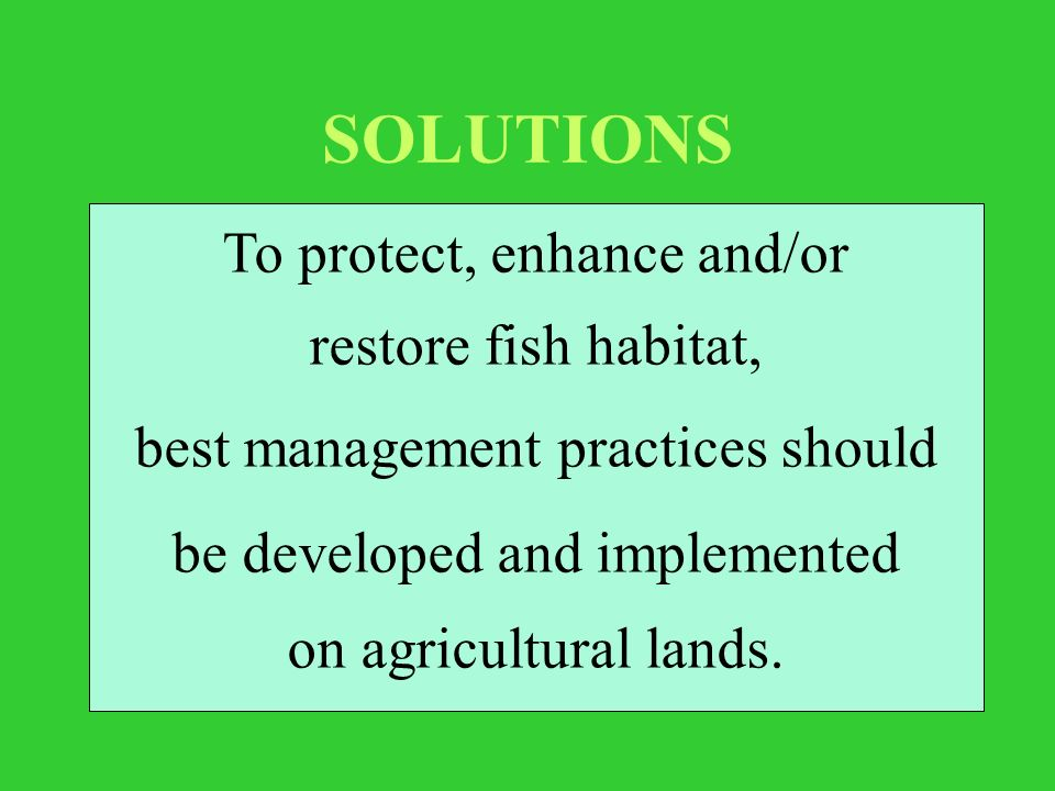 SOLUTIONS To protect, enhance and/or restore fish habitat, best management practices should be developed and implemented on agricultural lands.