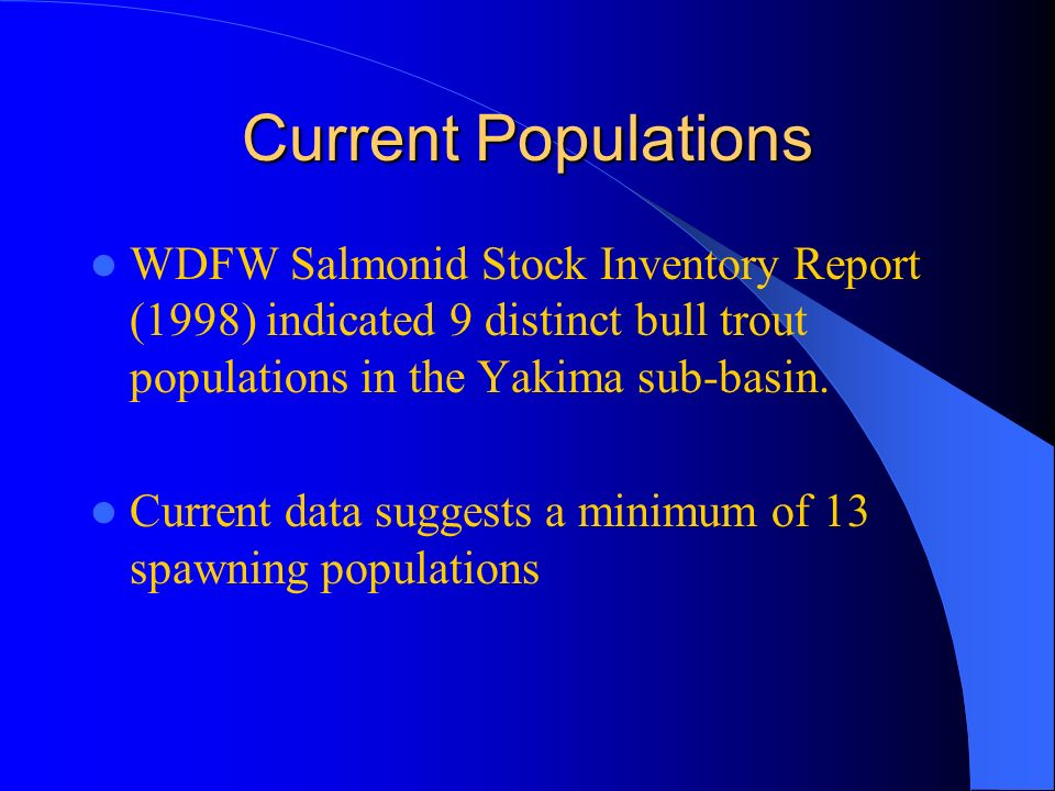 Current Populations WDFW Salmonid Stock Inventory Report (1998) indicated 9 distinct bull trout populations in the Yakima sub-basin.