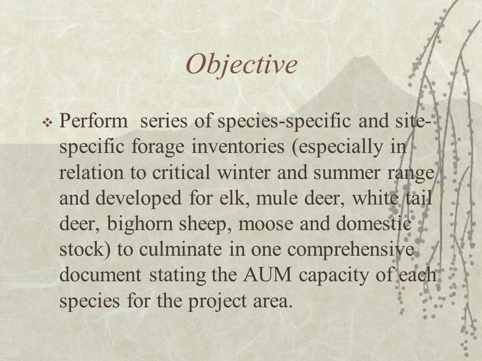 Objective Perform series of species-specific and site- specific forage inventories (especially in relation to critical winter and summer range and developed for elk, mule deer, white tail deer, bighorn sheep, moose and domestic stock) to culminate in one comprehensive document stating the AUM capacity of each species for the project area.