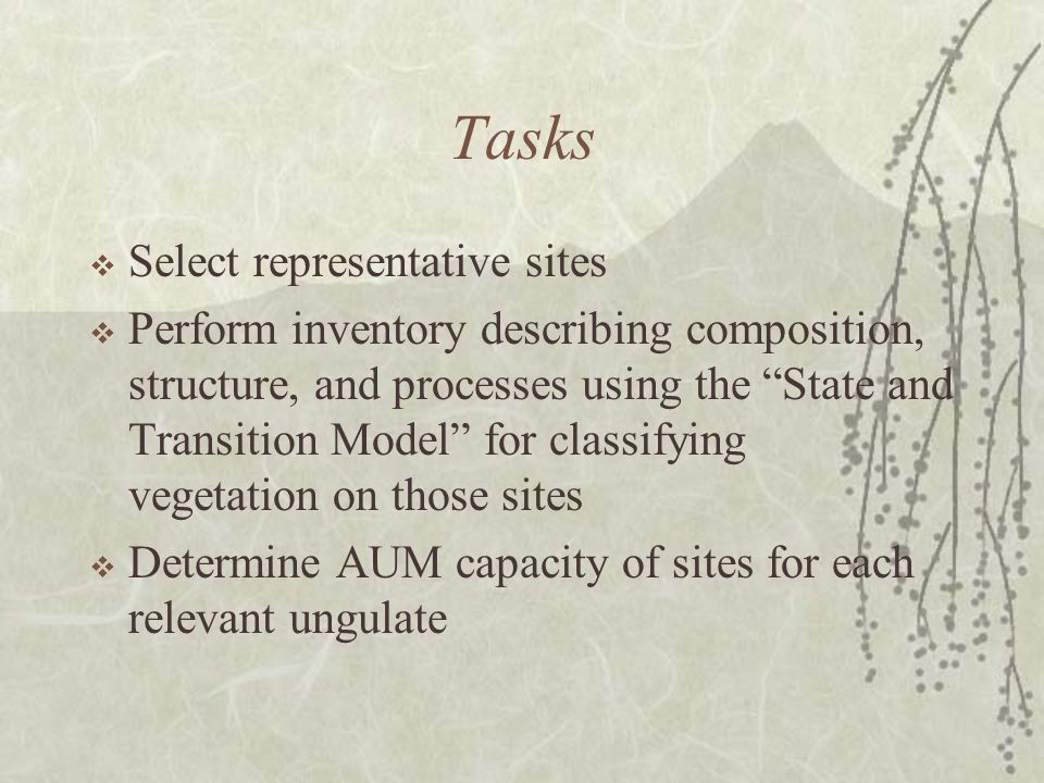 Tasks Select representative sites Perform inventory describing composition, structure, and processes using the State and Transition Model for classifying vegetation on those sites Determine AUM capacity of sites for each relevant ungulate