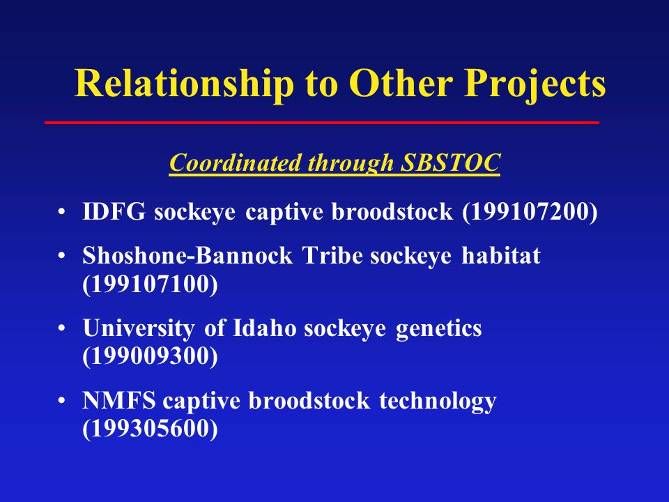 Relationship to Other Projects Coordinated through SBSTOC IDFG sockeye captive broodstock (199107200) Shoshone-Bannock Tribe sockeye habitat (199107100) University of Idaho sockeye genetics (199009300) NMFS captive broodstock technology (199305600)