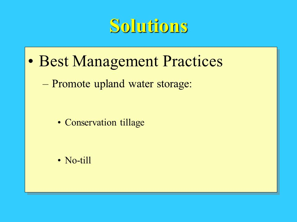 Solutions Best Management Practices –Promote upland water storage: Conservation tillage No-till Best Management Practices –Promote upland water storage: Conservation tillage No-till