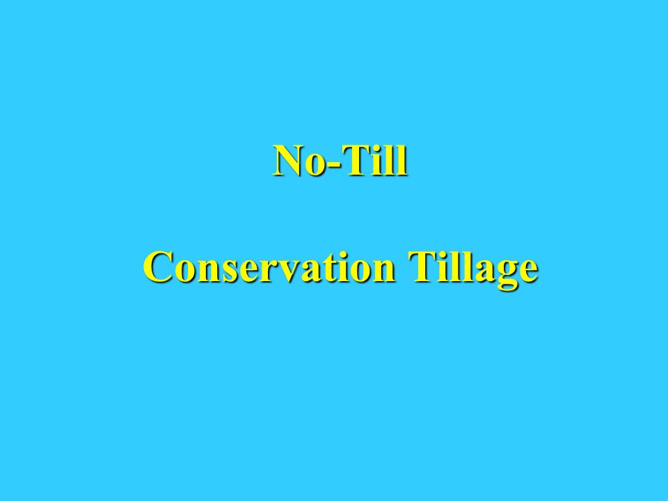 No-Till Conservation Tillage