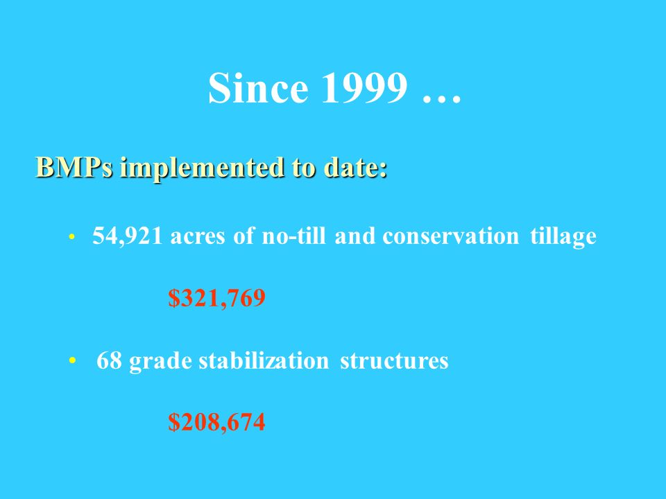 Since 1999 … BMPs implemented to date: 54,921 acres of no-till and conservation tillage $321,769 68 grade stabilization structures $208,674