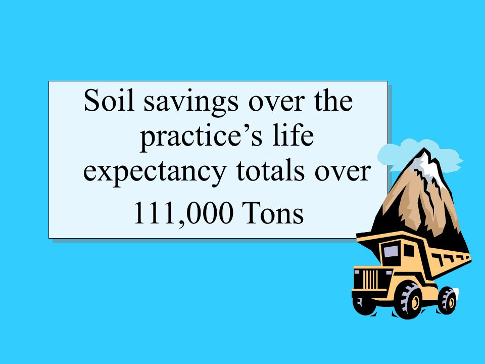 Soil savings over the practices life expectancy totals over 111,000 Tons Soil savings over the practices life expectancy totals over 111,000 Tons