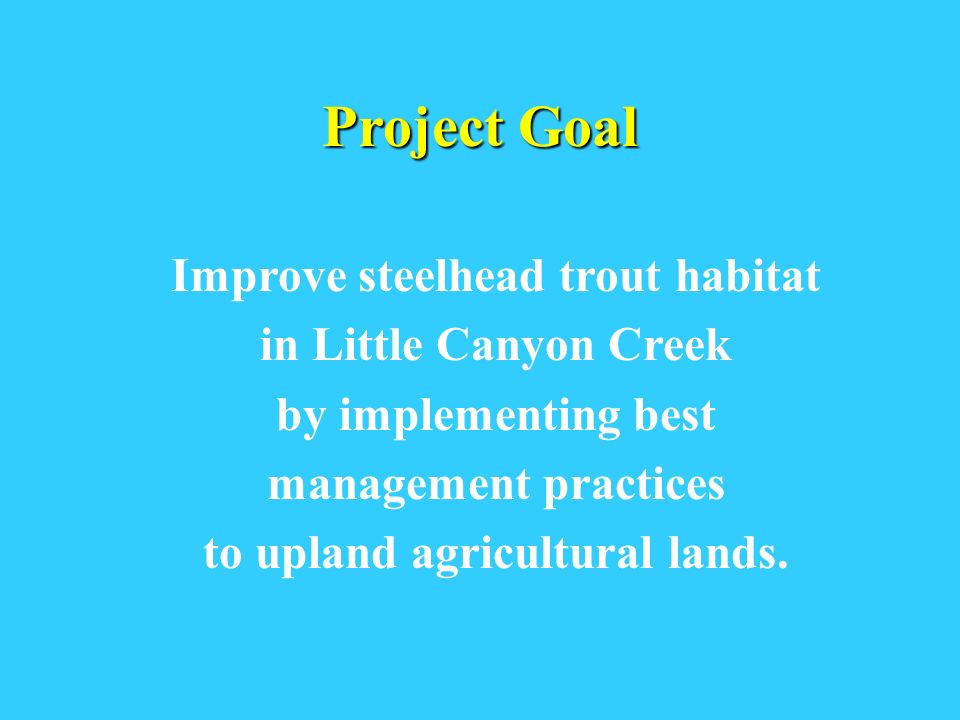 Project Goal Improve steelhead trout habitat in Little Canyon Creek by implementing best management practices to upland agricultural lands.