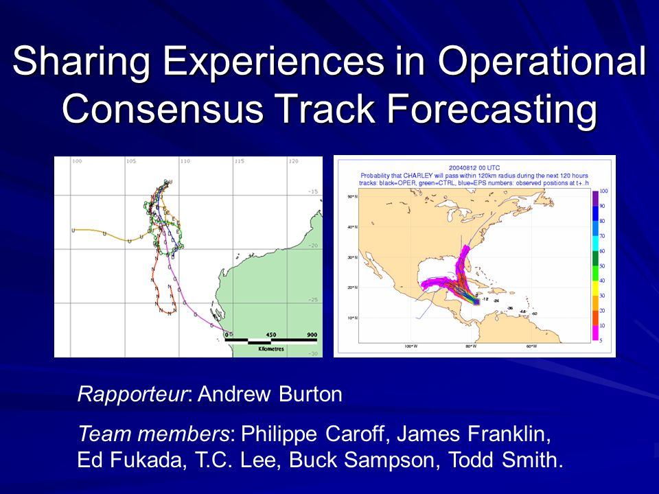Sharing Experiences in Operational Consensus Track Forecasting Rapporteur: Andrew Burton Team members: Philippe Caroff, James Franklin, Ed Fukada, T.C.