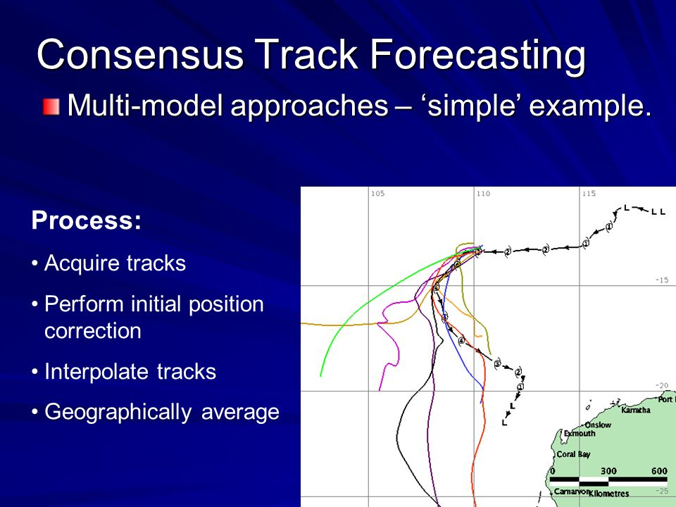 Consensus Track Forecasting Multi-model approaches – simple example.