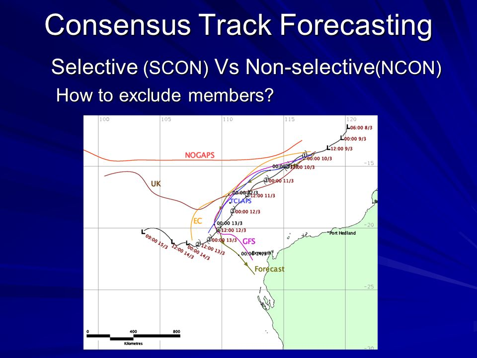 Consensus Track Forecasting Selective (SCON) Vs Non-selective (NCON) How to exclude members.