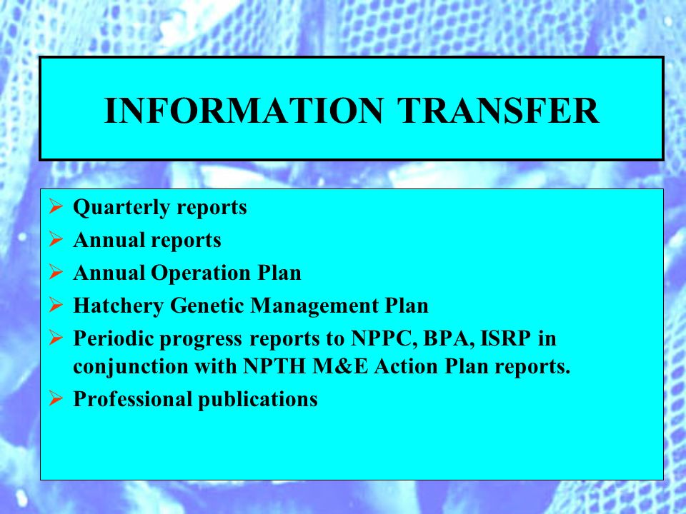 INFORMATION TRANSFER Quarterly reports Annual reports Annual Operation Plan Hatchery Genetic Management Plan Periodic progress reports to NPPC, BPA, ISRP in conjunction with NPTH M&E Action Plan reports.