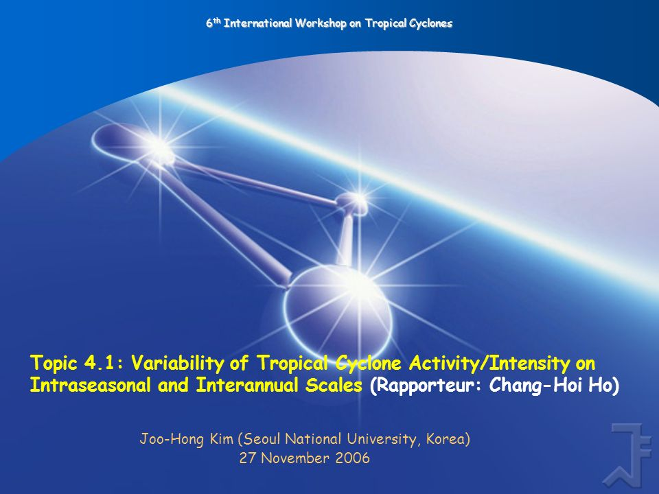 6 th International Workshop on Tropical Cyclones Topic 4.1: Variability of Tropical Cyclone Activity/Intensity on Intraseasonal and Interannual Scales (Rapporteur: Chang-Hoi Ho) Joo-Hong Kim (Seoul National University, Korea) 27 November 2006
