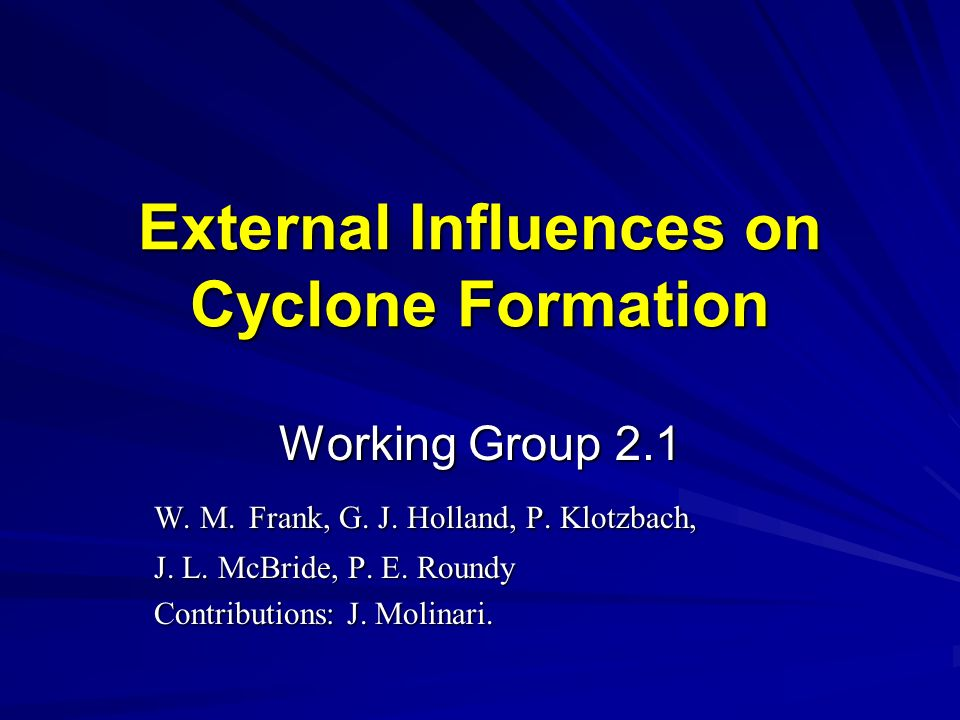 External Influences on Cyclone Formation Working Group 2.1 W.