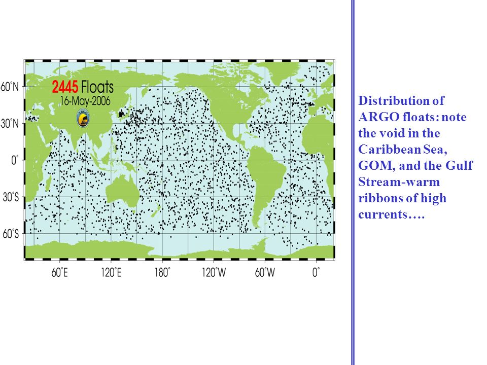 Distribution of ARGO floats: note the void in the Caribbean Sea, GOM, and the Gulf Stream-warm ribbons of high currents….