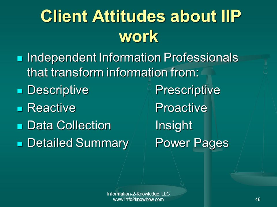 Information-2-Knowledge, LLC www.info2knowhow.com48 Client Attitudes about IIP work Client Attitudes about IIP work Independent Information Professionals that transform information from: Independent Information Professionals that transform information from: DescriptivePrescriptive DescriptivePrescriptive ReactiveProactive ReactiveProactive Data CollectionInsight Data CollectionInsight Detailed SummaryPower Pages Detailed SummaryPower Pages