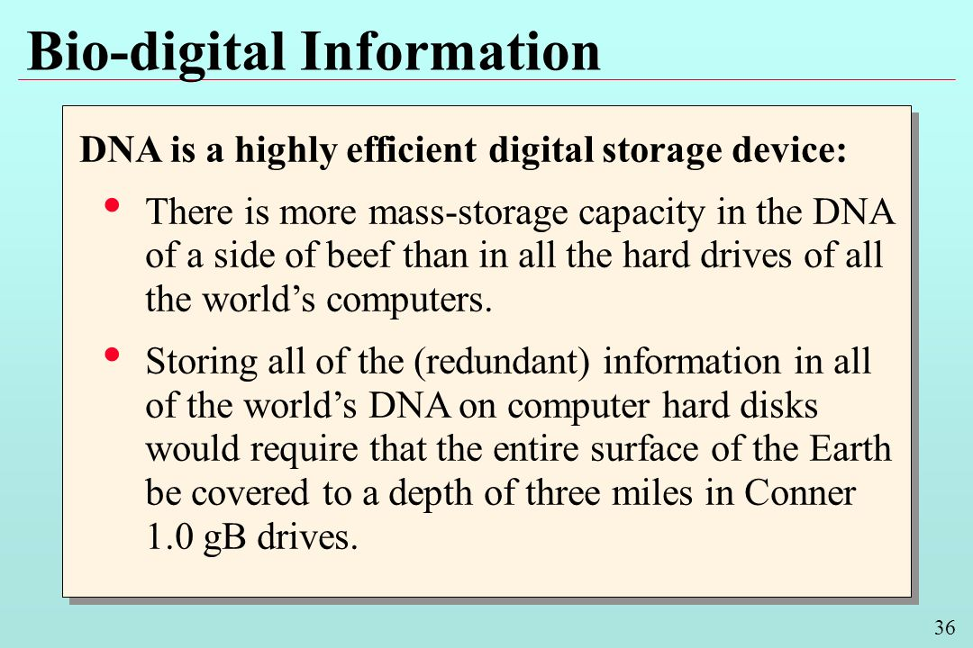 36 Bio-digital Information DNA is a highly efficient digital storage device: There is more mass-storage capacity in the DNA of a side of beef than in all the hard drives of all the worlds computers.