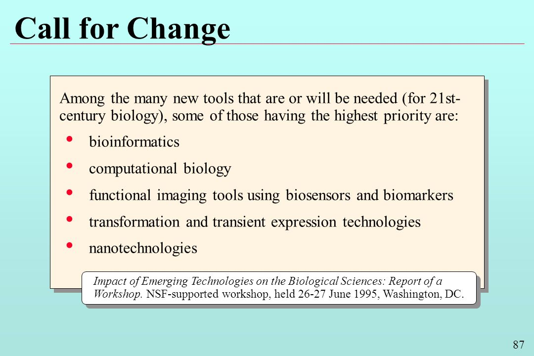 87 Call for Change Among the many new tools that are or will be needed (for 21st- century biology), some of those having the highest priority are: bioinformatics computational biology functional imaging tools using biosensors and biomarkers transformation and transient expression technologies nanotechnologies Among the many new tools that are or will be needed (for 21st- century biology), some of those having the highest priority are: bioinformatics computational biology functional imaging tools using biosensors and biomarkers transformation and transient expression technologies nanotechnologies Impact of Emerging Technologies on the Biological Sciences: Report of a Workshop.