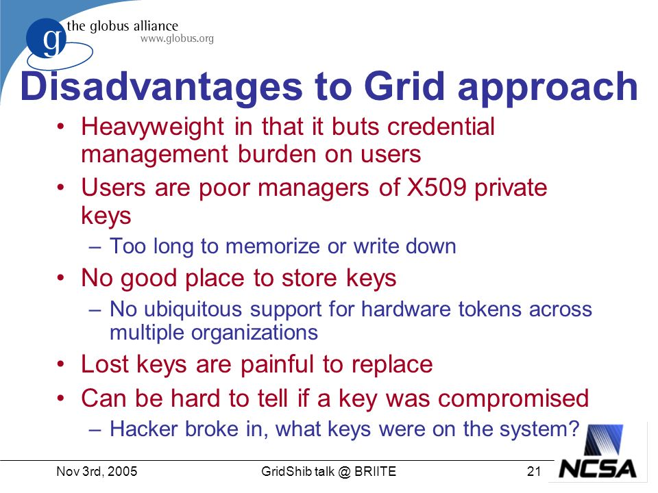 Nov 3rd, 200521GridShib talk @ BRIITE Disadvantages to Grid approach Heavyweight in that it buts credential management burden on users Users are poor managers of X509 private keys –Too long to memorize or write down No good place to store keys –No ubiquitous support for hardware tokens across multiple organizations Lost keys are painful to replace Can be hard to tell if a key was compromised –Hacker broke in, what keys were on the system