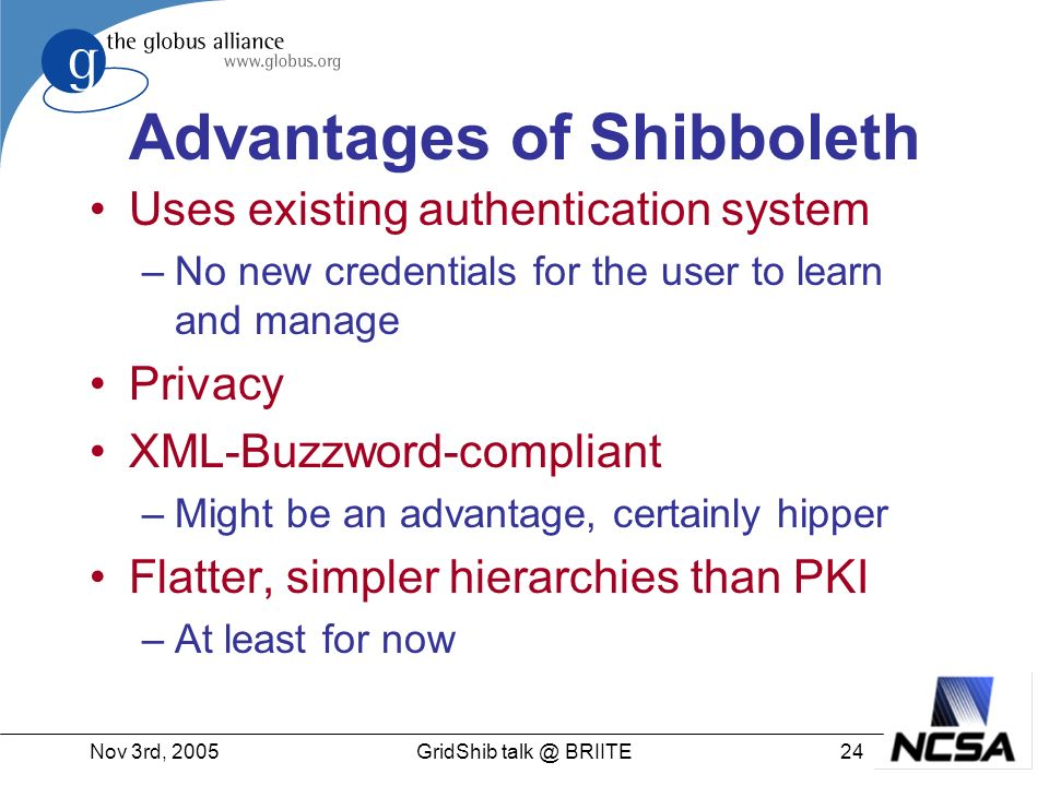 Nov 3rd, 200524GridShib talk @ BRIITE Advantages of Shibboleth Uses existing authentication system –No new credentials for the user to learn and manage Privacy XML-Buzzword-compliant –Might be an advantage, certainly hipper Flatter, simpler hierarchies than PKI –At least for now